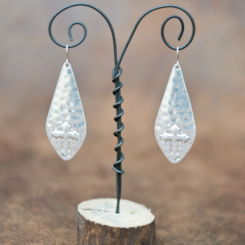 West & Co. Earrings, Silver Teardrops with Cross