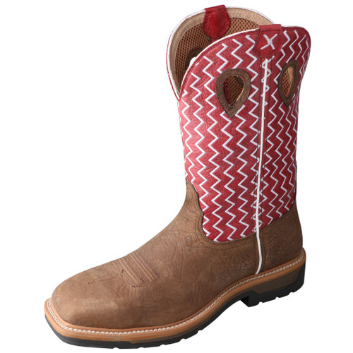 Men's Twisted X Work Boot, Red White Zig Zag/ Distressed Brown, Wide Square Toe