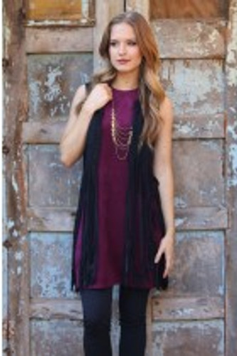 Women's Angie Dress, Sleeveless, Suede, Wine