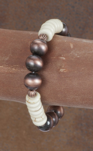 West & Co. Bracelet, Worn Copper and Ivory Beads