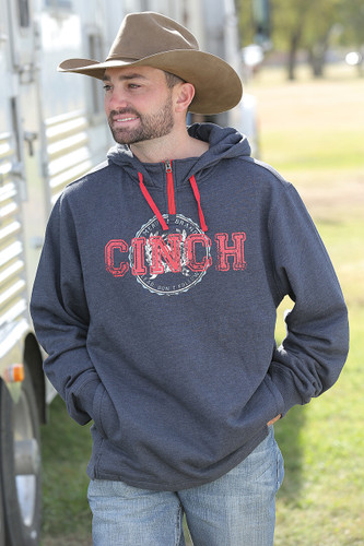Men's Cinch Hoodie, Navy with 1/4 Zip, Red Logo