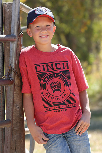 Boys Cinch S/S,  Red Tee with Black Logo