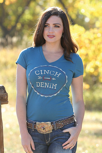 Women's Cinch S/S, V-Neck, Teal with Maroon and White Logo