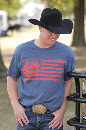 Men's Cinch Tee, Navy with Red Flag Logo