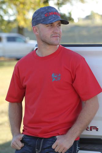 Men's Cinch Tee, Red with Navy Logo