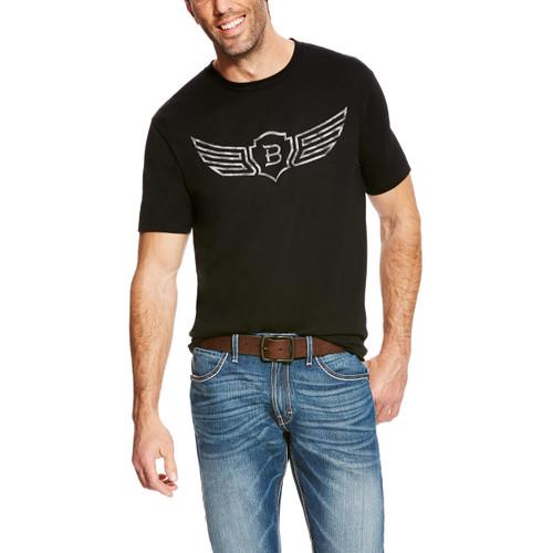 Men's Relentless Tee, Black with Metal Gray Logo