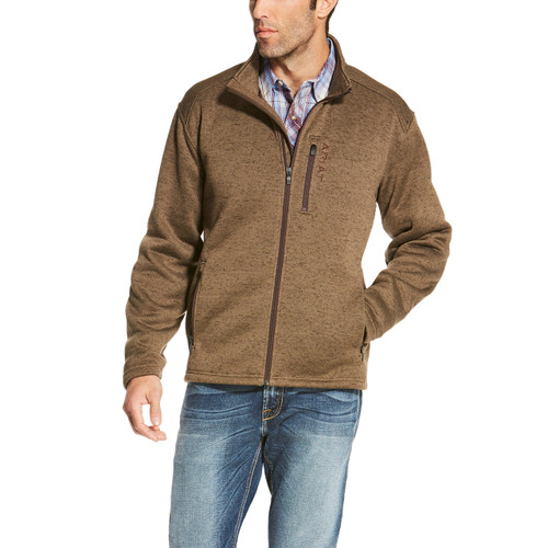 Men's Ariat Sweater, Caldwell, Full Zip, Fossil Brown
