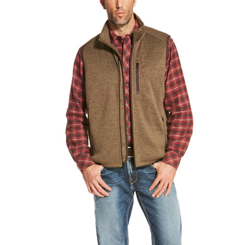 Men's Ariat Vest, Caldwell, Full Zip, Fossil Brown