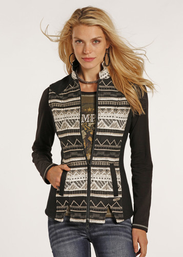 Women's Powder River Vest, Wool, Black and Cream Aztec