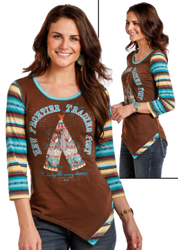 Women's Panhandle Tee, Raglan Serape with Teepee
