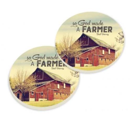PGD Car Coaster Set, God Made a Farmer