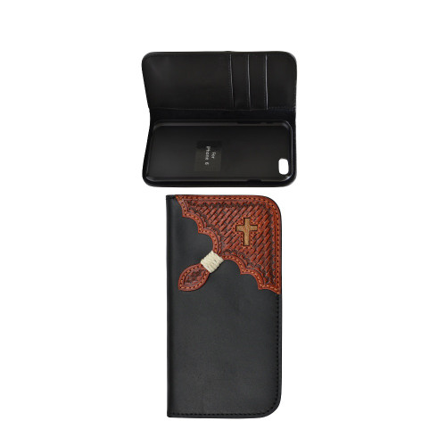 Men's Tony Lama iPhone 6 Case, Black w/ Tooled Corner & Cross