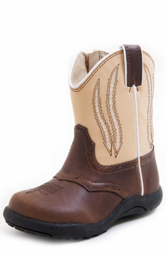 Infant Roper Boots, Brown with Tan Top