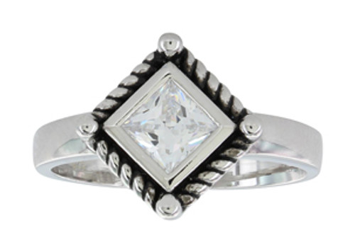 Montana Ring, Roped Clear CZ Princess Cut