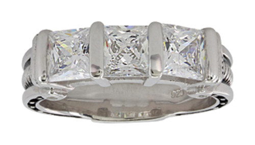 Montana Ring, White CZ 3 Stone, Horsehoe and Nail