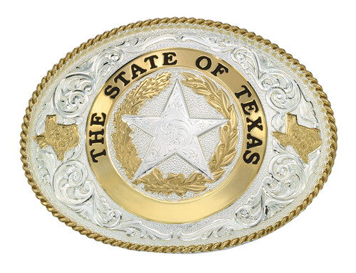 Montana Buckle, Long Oval, Silver Star TX