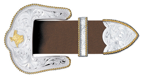 Montana 3 Piece Buckle Set,  Gold Texas, Silver and Gold Rope Trim, 1.5""