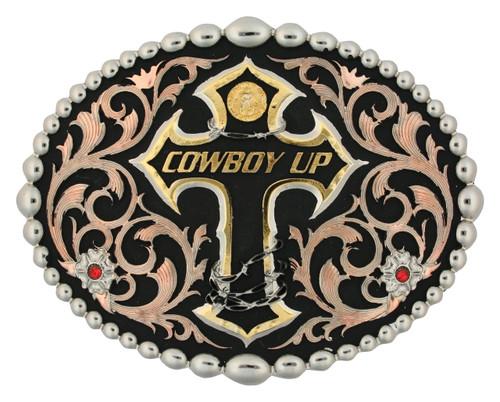 Montana Buckle, Oval, Beaded Trim, Cowboy