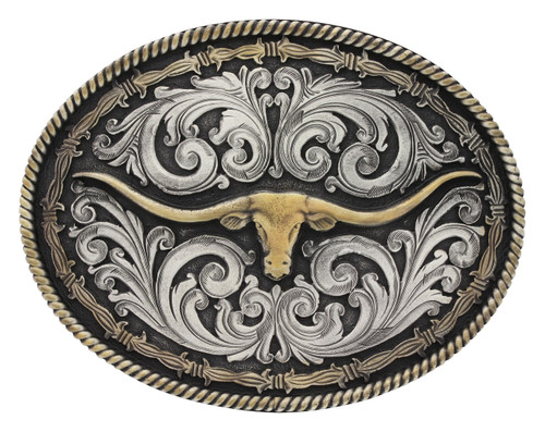 Montana Attitude Buckle, Two Tone Rope and Barbed Wire Longhorn