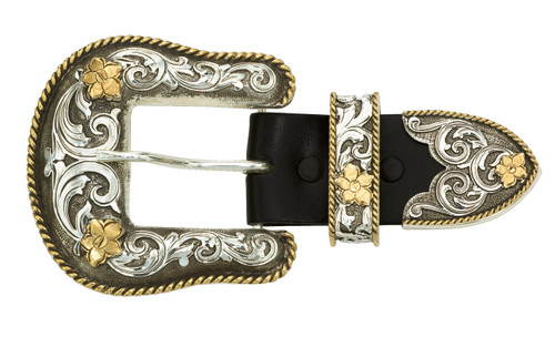 Montana 3 Piece Buckle Set,  Antiqued Two Tone Filigree 1.5""