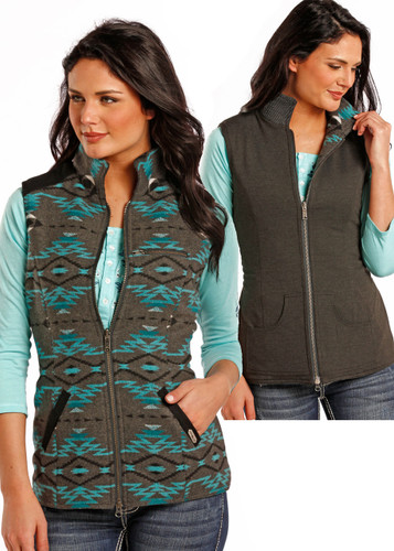 Women's Powder River Vest, Wool, Turquoise & Gray Aztec