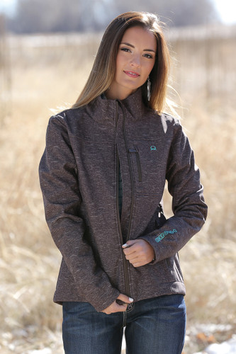 Women's Cinch Jacket, Bonded, Brown & Turquoise