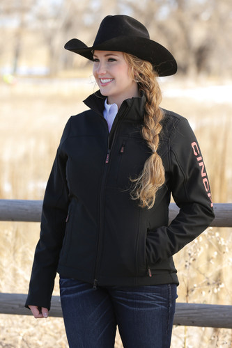 Women's Cinch Jacket, Bonded, Black w/ Coral Logo, Concealed Carry