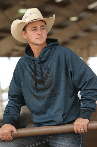 Men's Cinch Hoodie, Heathered Green with Black Logo