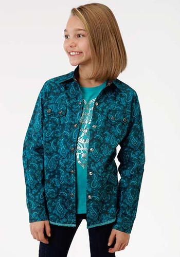 Girls Roper L/S, Blue Paisley