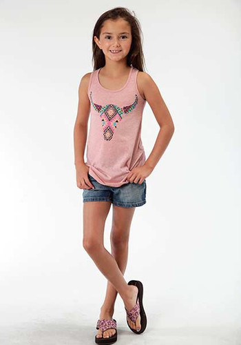 Girls Roper Tank Top, Pink with Cow Skull