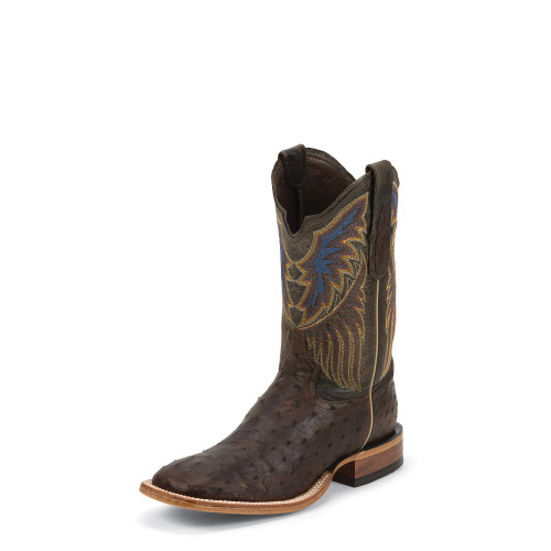 Men's Tony Lama Boot, Full Quill Ostrich, Dark Brown Vamp, Black Shaft