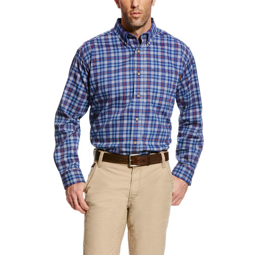Men's Ariat L/S, FR Blue Red and White Plaid