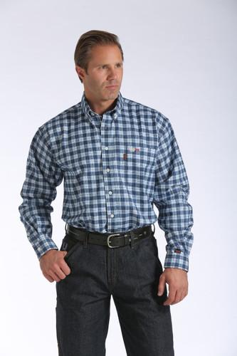 Men's Cinch L/S, FR Blue and White Plaid