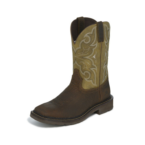 Men's Justin Work Boot, Dark Brown Square Toe, Tan Shaft