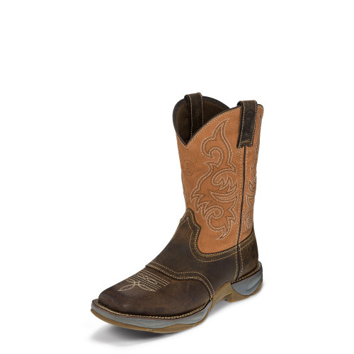 Men's Tony Lama Work Boot, Tan San Antone Bottom, Rusty Saddle Top