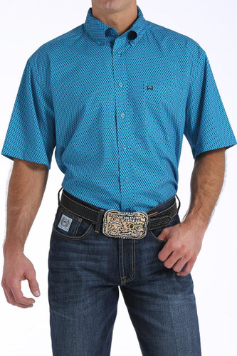 Men's Cinch S/S, Athletic, Teal with White Print
