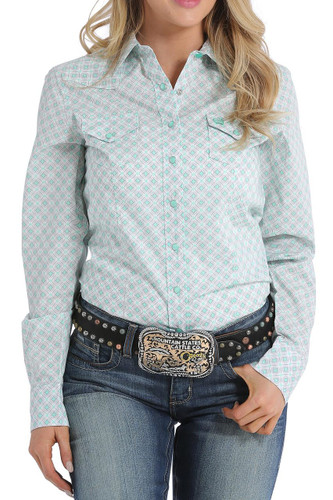 Women's Cinch L/S, Mint, Gray and White Print