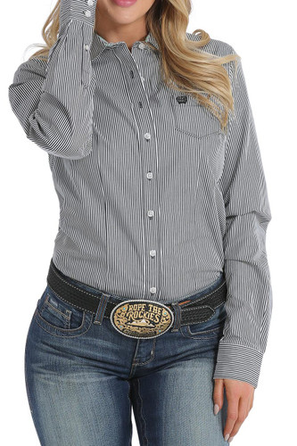 Women's Cinch L/S, Black and White Pinstripe