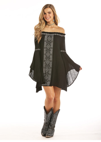 Women's Rock & Roll Dress, Black with Gray Embroidery
