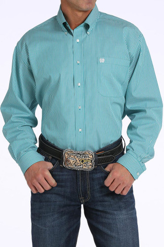 Men's Cinch L/S, Teal and White Pinstripe