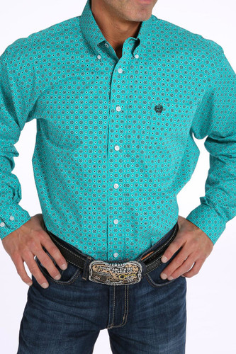 Men's Cinch L/S,Teal, Black and Red Print