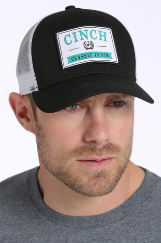 Men's Cinch Cap, Trucker Style, Black with White Mesh, Teal and White Logo