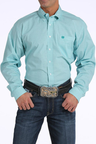 Men's Cinch L/S,Teal, Black and White Print