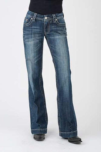 Women's Stetson Jean, Trouser Fit, Diagonal Stitch, Medium Wash