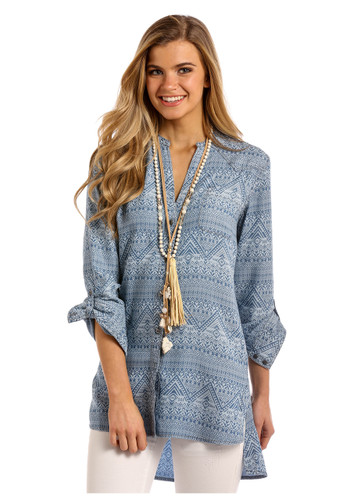 Women's Panhandle L/S, Hi/Low, Blue Aztec Print