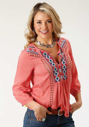 Women's Roper L/S, Coral with Embroidery and Lace