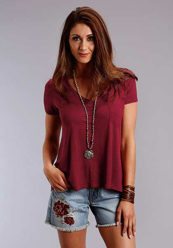 Women's Stetson S/S, Wine, V-Neck with Pocket