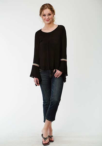Women's Roper L/S, Black with Bell Sleeves, Embroidered Band