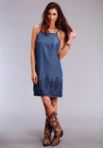 Women's Stetson Dress, Denim with Spaghetti Straps and Embroidered Hem