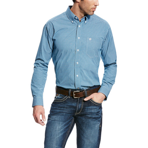Men's Ariat L/S, Teal, Blue and White Plaid